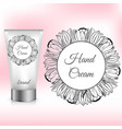 hand cream packaging with tulip wreath vector image vector image