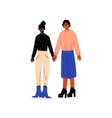 happy lesbian couple two women holding hands vector image vector image
