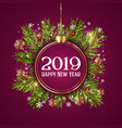 happy new year background with hanging bauble on vector image vector image