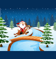 happy santa claus riding a reindeer on the bridge vector image vector image