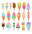 isolated ice cream icons vector image