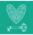 locked heart and key on emerald green background vector image