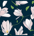 magnolia sakura spring tree pink flowers navy blue vector image vector image