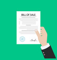 man paying bill hold in hand receipt payment of vector image vector image