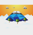 mountain in winter low poly background mountain vector image vector image