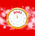 new 2021 year snow poster clock face vector image