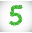 Number five made up of green leaves vector image vector image