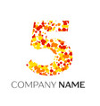 number five with orange yellow red particles vector image vector image