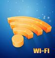orange Wi-Fi symbol on blue background vector image
