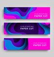 paper cut set horizontal banners background vector image