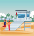 people and beach vector image