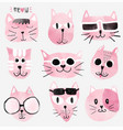 pink watercolour funny cat faces set vector image vector image