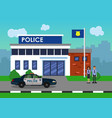 policemen on the background of the police station vector image