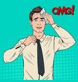 pop art nervous businessman stressed worker vector image