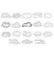 set of comic hand drawn clouds of different shapes vector image vector image