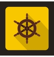 Ship steering wheel icon flat style vector image vector image