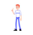 smiling male character pointing with idea vector image vector image