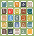 Spa line flat icons on green background vector image vector image