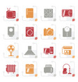 stylized home appliances and electronics icons vector image vector image
