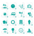 stylized vacation and holiday icons vector image