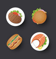 traditional food simple design icon set vector image