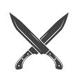 Two crossed big knives with short handle and long vector image vector image