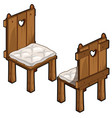 two wooden chairs with soft seats vector image vector image