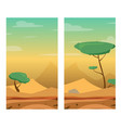 vertical with desert dunes trees and stones vector image vector image