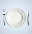 White plate fork and knife vector image vector image