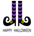 witch legs with violet striped socks and shoes vector image vector image