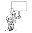 Cartoon man holding a sign vector image