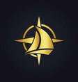 sailing boat star compass gold logo vector image