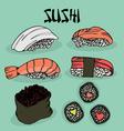 Japanese food sushi fresh fish vector image