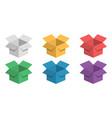 set 3d box festive colorful cardboard box vector image