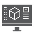 3d design glyph icon model and computer