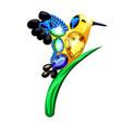 a little golden bird and a blade grass figurine vector image vector image
