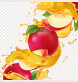 apple fresh juice realistic vector image vector image