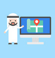 arab businessman show location on computer screen vector image vector image