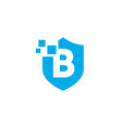 b letter shield digital pixel logo icon vector image vector image