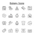 bakery icons set in thin line style vector image vector image