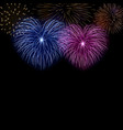 beautiful heart-fireworks cute background card vector image