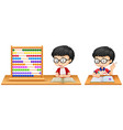 boy studying math using abacus vector image vector image