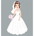 bride in white dress vector image