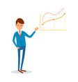 business meeting presenter with whiteboard info vector image vector image