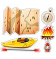 Camping sticker set with canoe and map vector image vector image