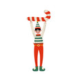 christmas elf character holding candy cane cute vector image vector image