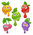 collection fresh funny cartoon fruits and vector image