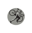 Cyclocross Athlete Carrying Bicycle Circle Retro vector image vector image