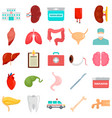 donate organs icons set flat style vector image vector image