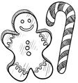 doodle gingerbread man candy cane vector image vector image
